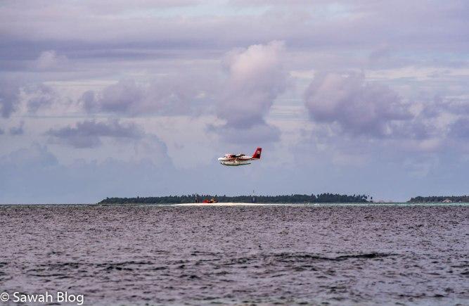 طائرة بحرية تحلق فوق إحدى جزر المالديف